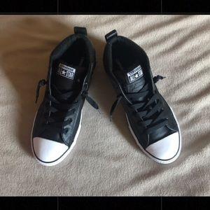 Converse Shoes - NWOB Black leather CONVERSE chucks